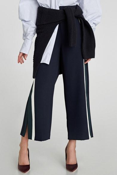 New Stylish Striped Side Split Wide Leg Zip Fly Pants
