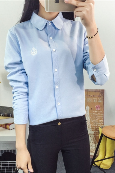 Sleeve Lapel Simple Embroidered Buttons Shirt Long Down tpHT8nqH
