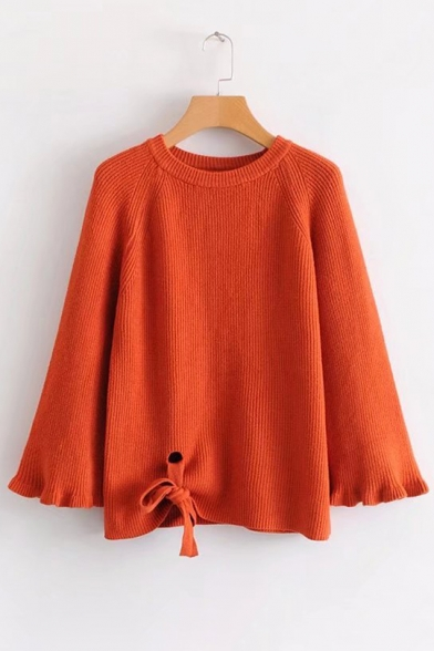 a87f4d906f6a Simple Plain Ruffle Cuff Round Neck Bow Tie Front Pullover Sweater -  Beautifulhalo.com