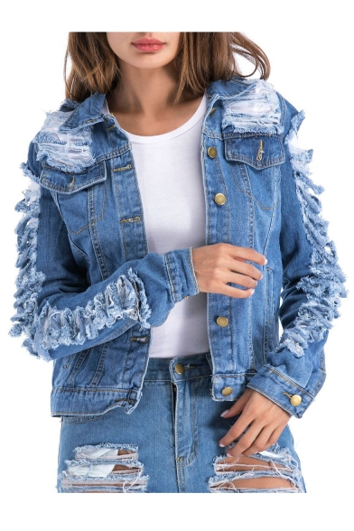 Long Denim Ripped Jacket Stylish Sleeve Collared vqwPHP