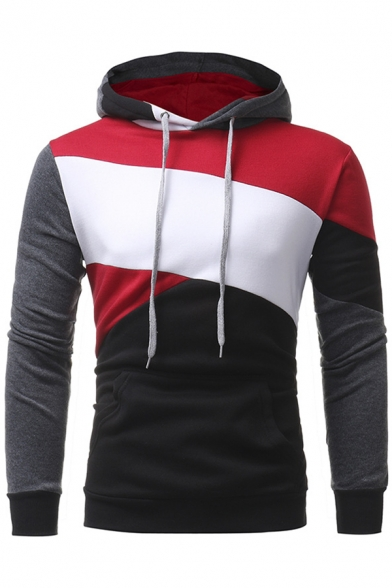 Stylish Color Block Long Sleeves Pullover Hoodie - Beautifulhalo.com