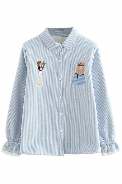 Baycheer / Warm Cartoon Embroidered Striped Lapel Long Sleeve Buttons Down Shirt