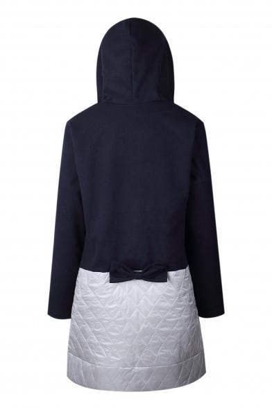 Print Zipper Sleeve Color Coat Hooded Chic Back Long Bow Block Tunic U4ppqwf