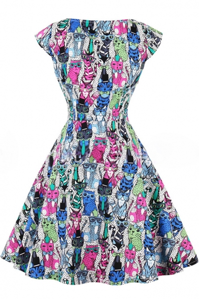 Colorful Cat Printed Dotted Scoop Neck Cap Sleeves Fit & Flare Mini Dress