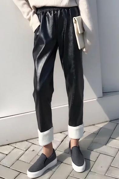 Cool Elastic Waist Faux Fur Trimmed Plain Leather Pants