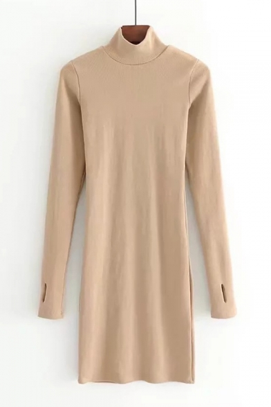 Elegant High Neck Long Sleeves Plain Slim-Fit Bodycon Knitted Mini Dress