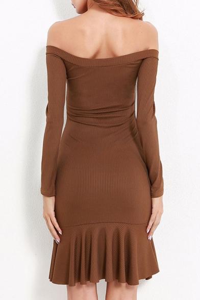 Fashion Bow Tie Front Off Shoulder Long Sleeve Ruffle Hem Dress
