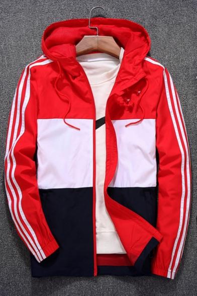 Jacket Hooded Sleeve Zipper Block Print Long Color Fashion Leisure vq1fwSx8
