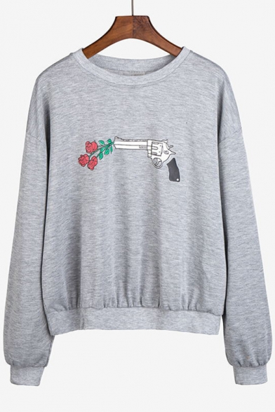Neck Pullover Sleeve Fashion Round Print Gun Sweatshirt Floral Long 4nqBqwI0