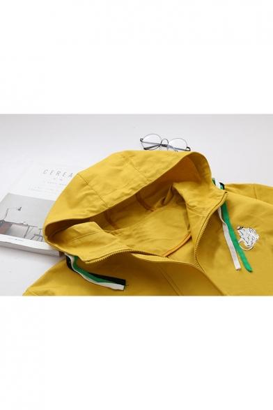 Fashionable Long Sleeve Drawstring Hood Embroidered Pattern Tunic Coat