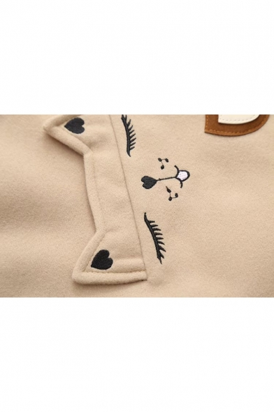 Long Leisure Coat Cartoon Woolen Sleeve Cat Embroidered 8tnqwUZt
