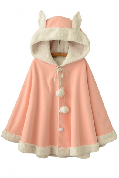 Long Pompom Color Woolen Ear Hooded Block Fashion New Buttons Down Sleeve Cape Yx4H6qU