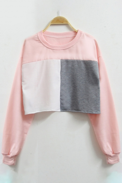 New Fashion Color Block Panel Round Neck Long Sleeve Croppd Sweatshirt