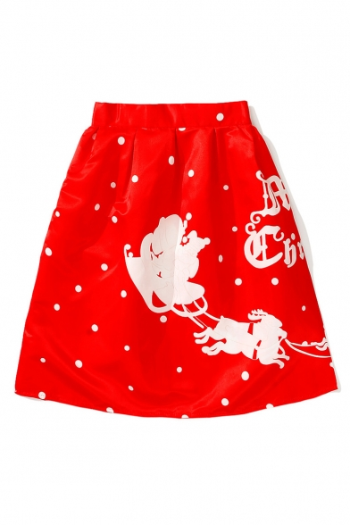 New Fashion Christmas Santa Cartoon Letter Print A-Line Midi Skirt