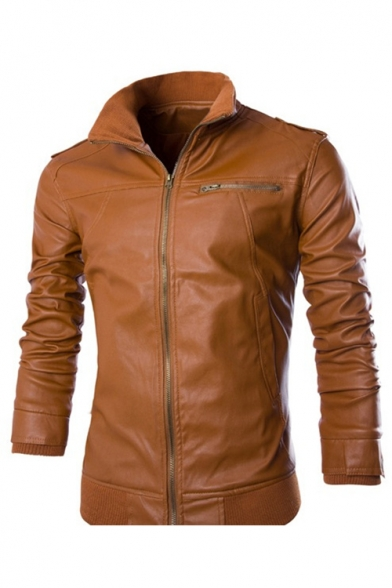New Fashion Plain Stand-Up Collar Zip Placket Long Sleeve Leather Jacket