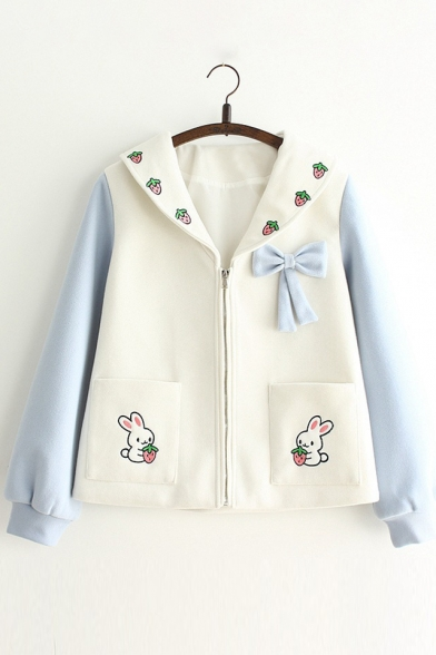 New Fashion Strawberry Rabbit Embroidered Navy Collar Zip Placket Long Sleeve Coat