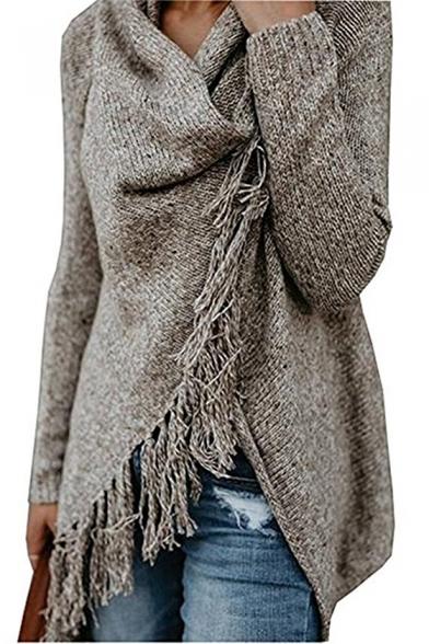 New Fashion Simple Plain Tassel Hem Long Sleeve Longline Sweater