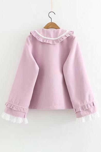 New Fashion Simple Ruffle Hem Long Sleeve Woolen Coat