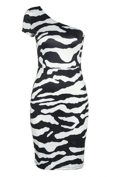 New Fashion Zebra Print One Shoulder Skinny Bodycon Mini Dress