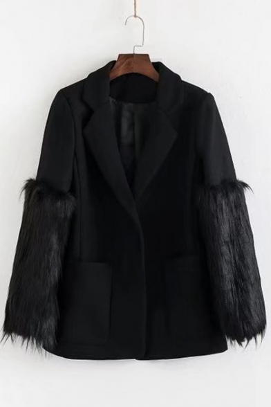 New Stylish Faux Fur Panel Long Sleeve Notched Lapel Plain Blazer