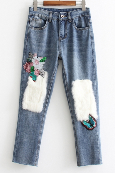 New Stylish Faux Fur Sequined Embellished Zip Fly Jeans