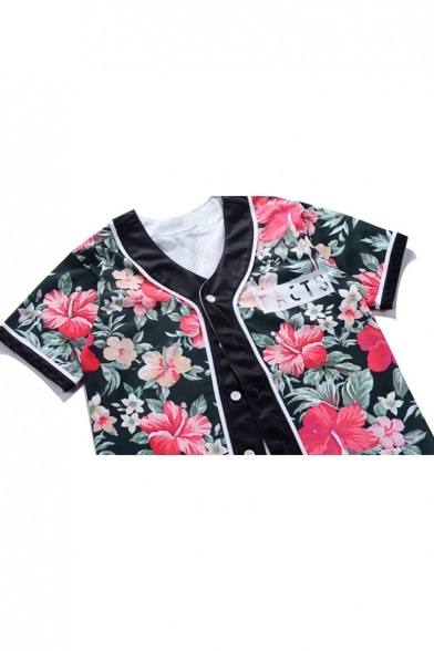 Short Print Button Stylish Floral Down Sleeve Shirt New wqX6FF