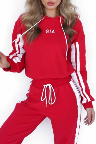 New Stylish Letter Striped Print Hoodie Sport Co-ords