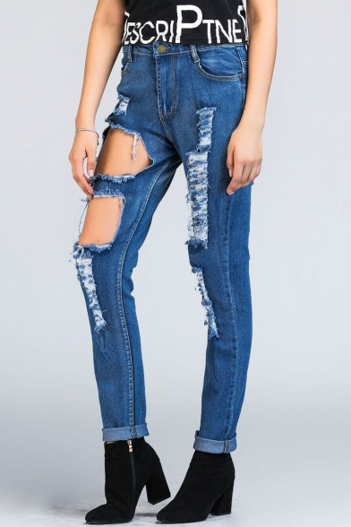 New Stylish Mid Waist Ripped Skinny Jeans with Pockets