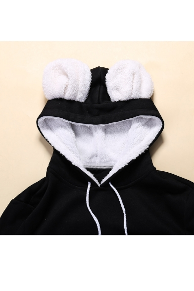 Print New Sleeve Drawstring Pocket Long Stylish Hood Hoodie 5S88a4qw