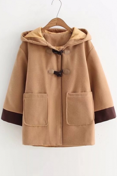 Contrast Breasted Single Stylish Hooded Cuff Coat New 1P68qwUnB