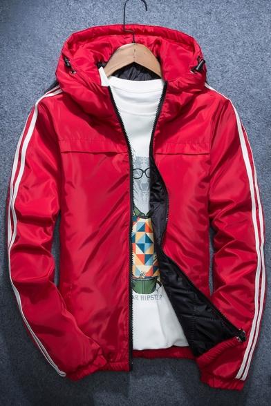 New Stylish Striped Side Long Sleeve Zipper Hooded Coat