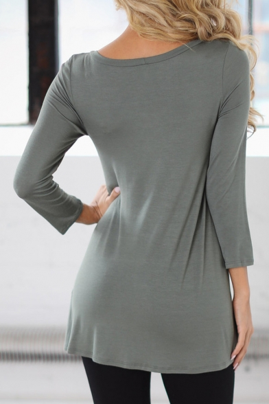 Sleeve Simple Long Round Trendy Plain Tee Neck New nq6CYp5w