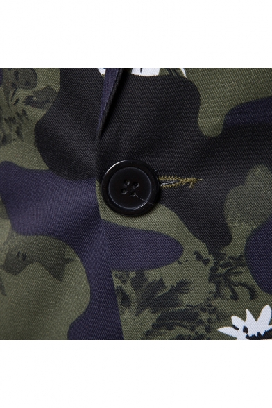 Notched Lapel Long Sleeves Camouflaged Pattern Single Button Blazer with Pockets