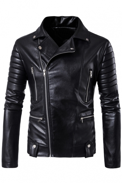 Punk Notched Lapel Long Sleeve Zippered Biker Jacket with Zipped-Pockets