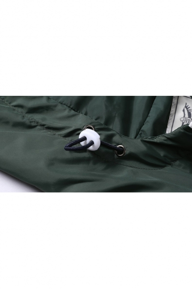 Plain Sleeve Panel Zippered Color Block Simple Coat Hooded Long Windproof Fqa4nw