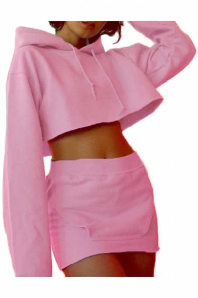 Simple Plain Long Sleeve Cropped Hoodie with Elastic Waist Mini Skirt