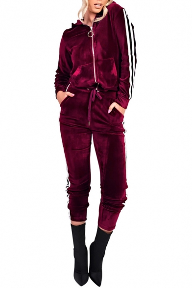 Striped Long Sleeves Hooded Zippered Drawstring Waistband Slim-Fit Velvet Co-ords with Pockets