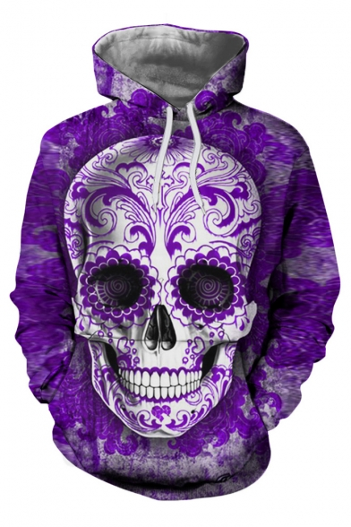 Skull Trendy Pocket Hoodie Long with Sleeves Pullover Pattern rrvqF8wfd