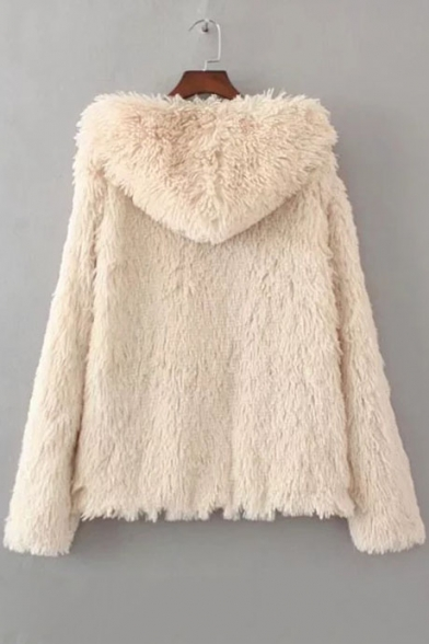 Fashion Sleeves Fluffy Fur Hooded Winter Coat Long Faux dAEwxPq