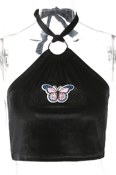 Tee Butterfly Neck Halter Cropped Sleeveless Patchwork ww48XqY