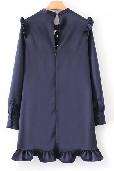 Chic Bird Embroidered Ruffle Hem Long Sleeve Shift Mini Dress