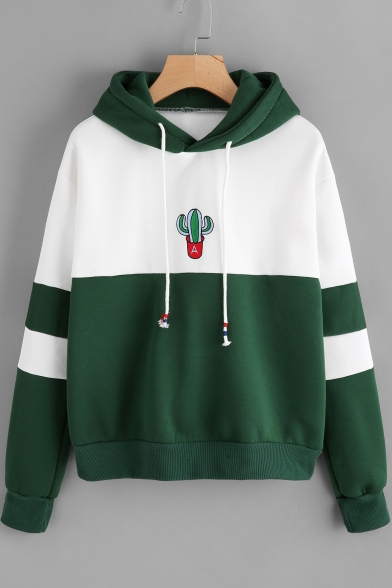 Chic Cactus Print Color Block Drawstring Hood Long Sleeve Loose Hoodie