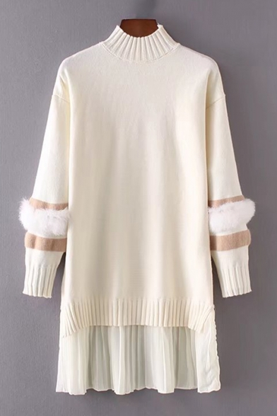 Chic Color Block Faux Fur Chiffon Panel Long Sleeve Turtleneck Mini Dress