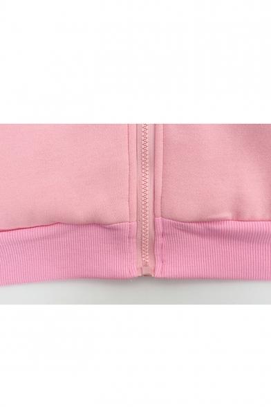 Hand Pocket Coat Zipper Print Long Hooded Chic Sleeve Loose Tunic pdFwRqqx