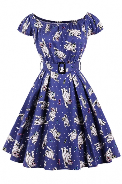 Cute Cats Printed Dotted Boat Neck Cap Sleeves Belted Zippered Fit & Flare Mini Dress
