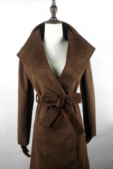 Fashion Oversize Collar Long Sleeve Bow Tie Waist Plain Tunic Coat