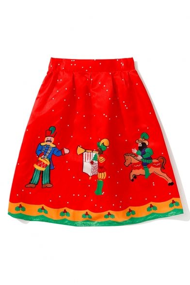 Fashionable Christmas Soldier Collection Cartoon Print A-Line Midi Skirt
