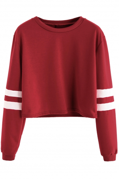 012dae4fe2ed7 Leisure Round Neck Contrast Ribbed Long Sleeve Cropped Pullover Sweatshirt  ...