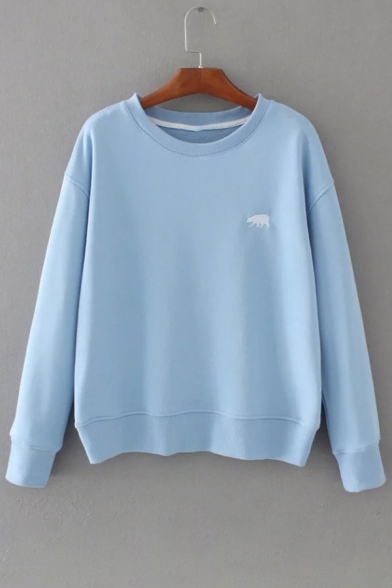Sleeve New Fashion Round Polar Neck Sweatshirt Pullover Long Bear Embroidered 01q0R