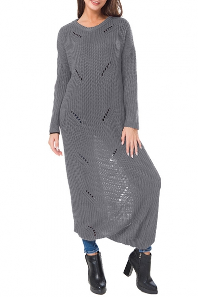 Sleeve Hollow Out Sweater Neck New Plain Maxi Round Fashion Simple Long Dress Itxq7418